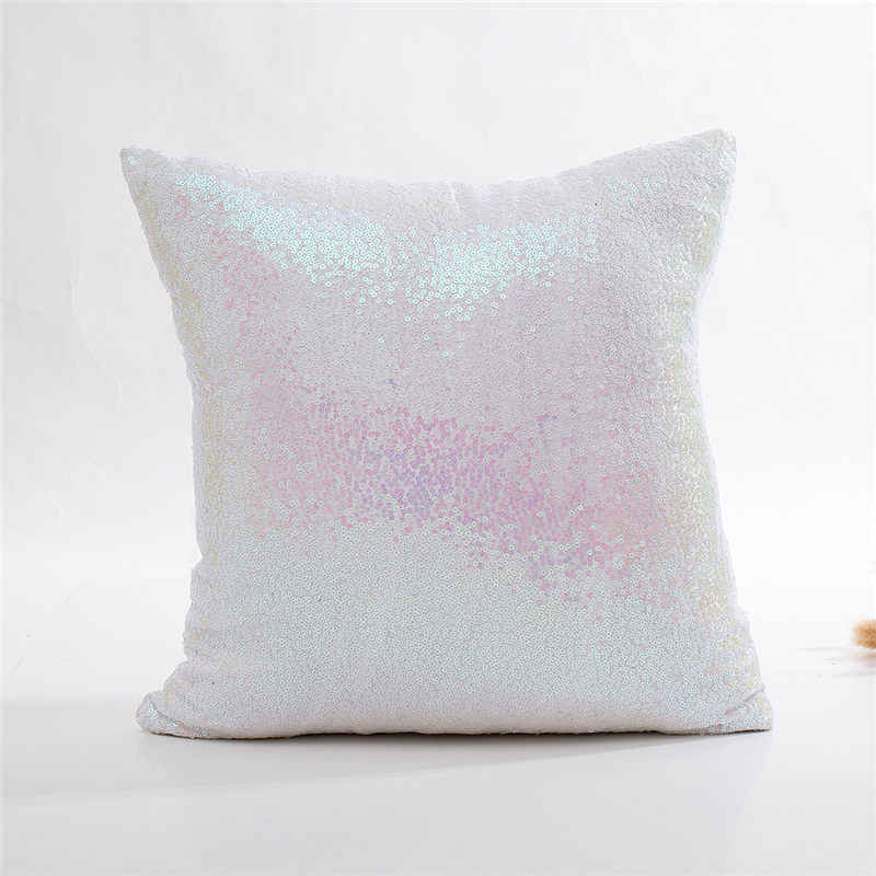 장식 조각이있는 베개 케이스 실버 솔리드 반짝이 장식 쿠션 커버 인어 패션 Pillowcover 소파 40*40cm 10023