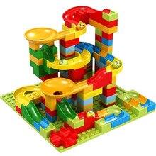165 шт мраморный лабиринт, шарики, строительные блоки, игрушка воронка, горка, сборные кирпичи, совместимые с Legoed Duploe
