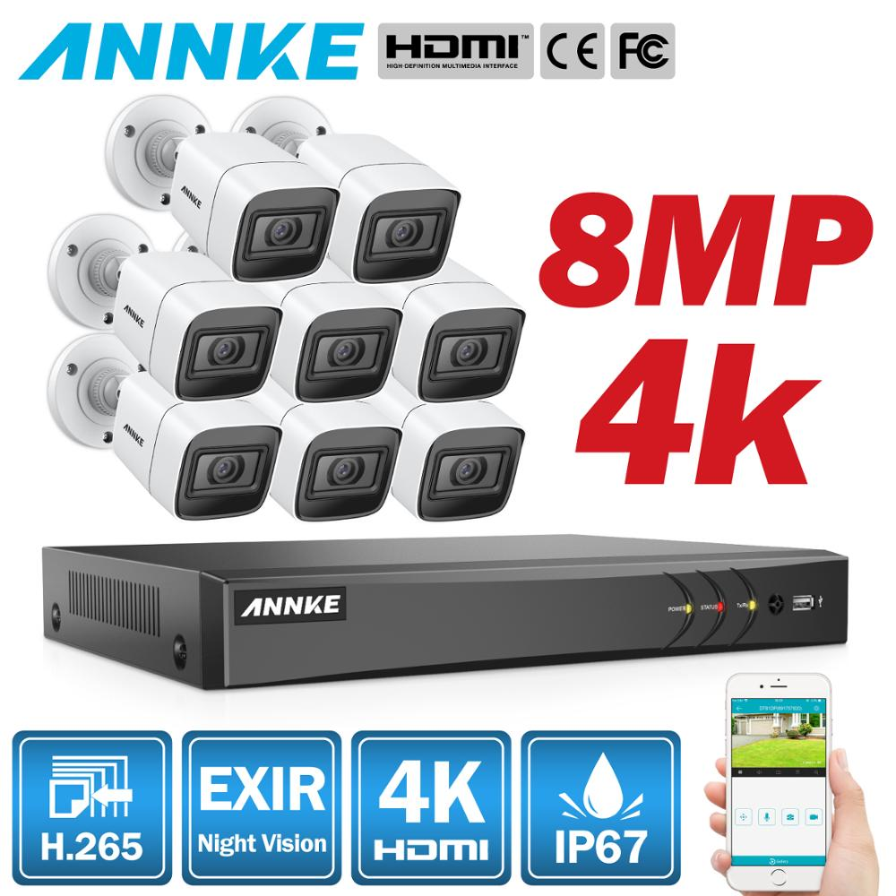 ANNKE 4K HD Ultra Clear 8CH Video Security System H.265+ DVR With 4X 8X 8MP IR Outdoor Weatherproof CCTV Surveillance Camera Kit