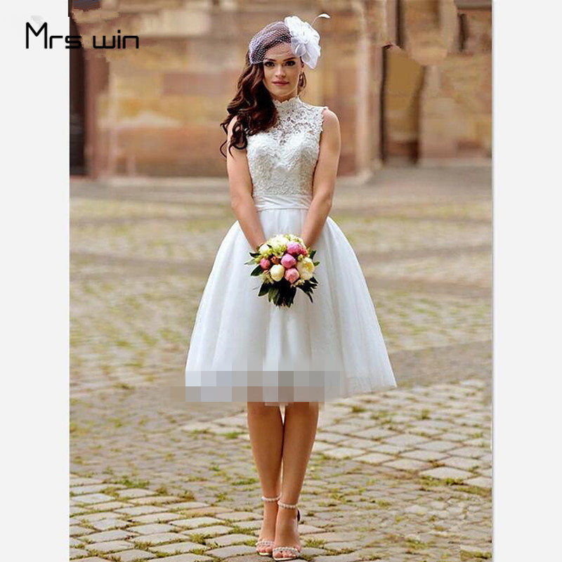 Mrs Win Wedding Dress High Neck Short Wedding Dresses Elegant Lace Backless Vestido De Noiva Plus Size Wedding Gowns HR041