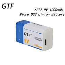 GTF 9V 6F22 USB Battery 1000mah 9V Li-ion Rechargeable Battery Micro USB Battery for Microphone Toy Remote Control KTV Use Cells mallper replacement 3 7v 1000mah li ion battery for samsung corby 2 s3850 s5530 more orange
