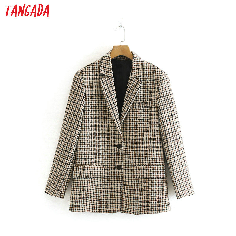 Tangada Women England Style Plaid Suit Blazer Female Long Sleeve 2019 Elegant Jacket Ladies Business Formal Suits 2W59