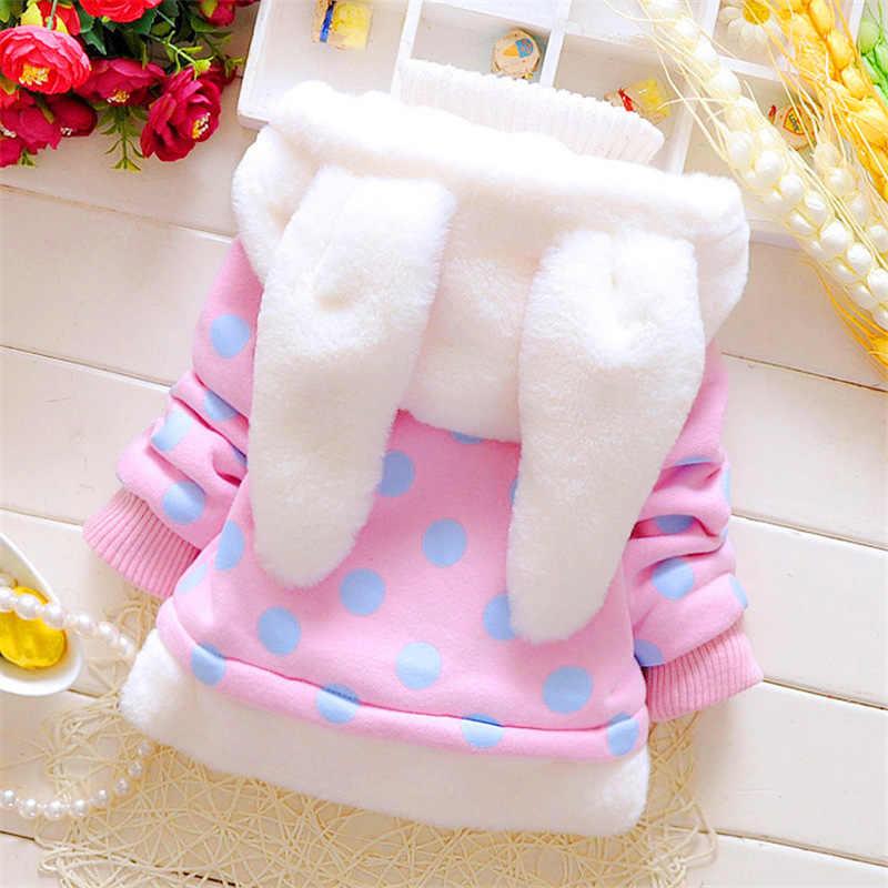 Lookykit invierno niñas encantadora oreja de conejo abrigo niños con capucha Thicken Warm Chaquetas niños Plush Dot prendas de vestir ropa linda para niña