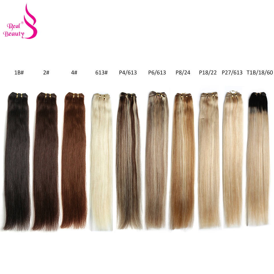Real Beauty Platinum Blond Brazilian Straight Hair Weave Bundles 18