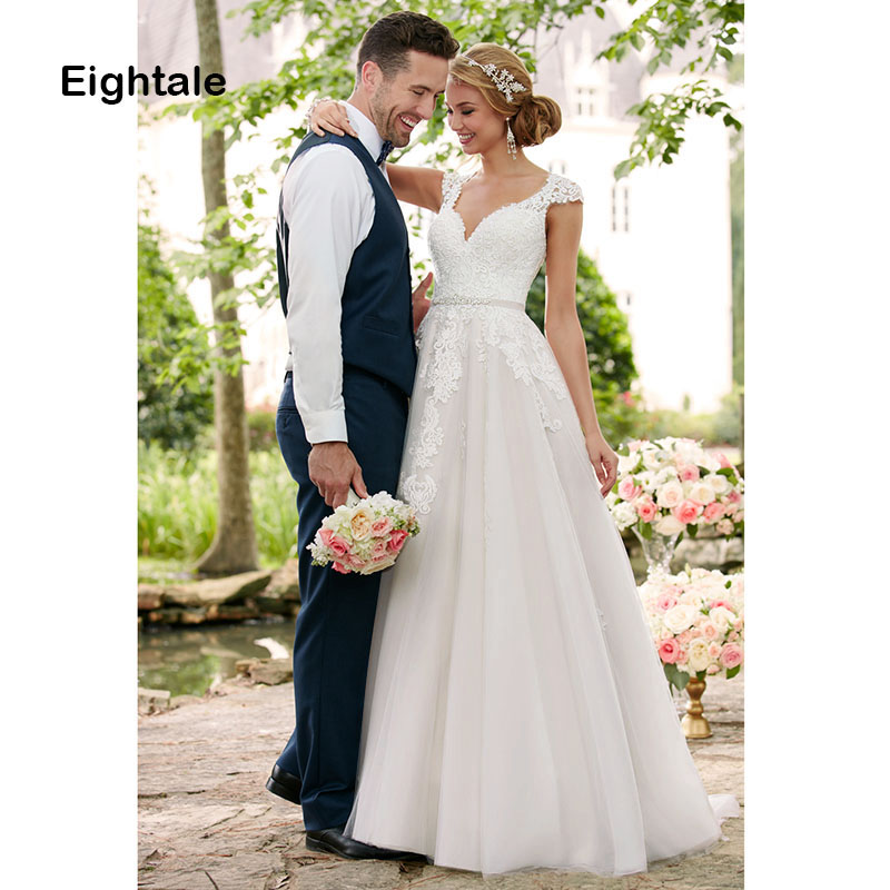 Eightale Plus Size Wedding dress 2019 Cap Sleeve Appliques Tulle Princess Wedding Gowns Custom Made Bride Dress vestido noiva-in Wedding Dresses from Weddings & Events    1