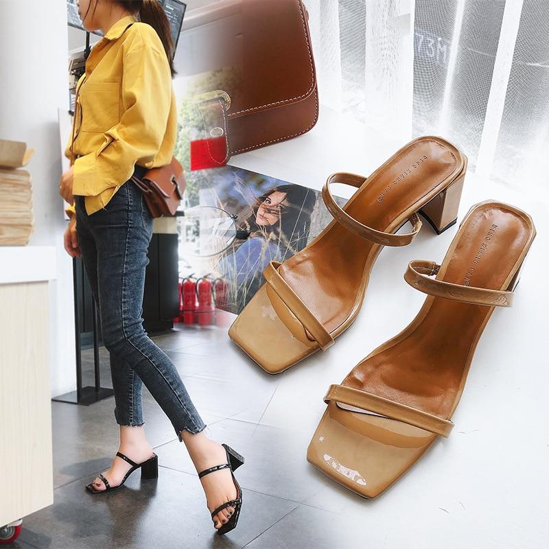 Slip On Square Heel Women Slipper Summer Outdoor Trendy Comfortable Women Sandals Thin Strap Women Slipper Elegant Women 758
