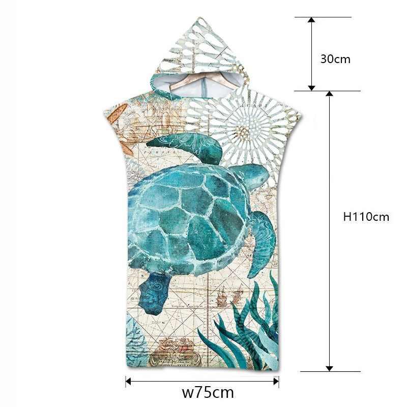 Tartaruga di Stampa In Microfibra Telo da bagno Spiaggia del Vestito Abito Con Cappuccio Poncho per di Nuotata Della Spiaggia di Surf Uomo Donna Accappatoio Beachwear Robe de plage