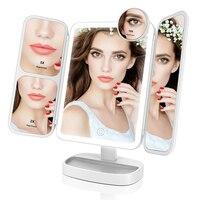Портативный светодиодный косметическое зеркало с подсветкой 2x/5x/10x увеличительное зеркало с двойным источником питания косметическое зерк...
