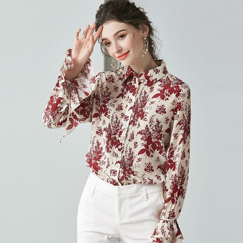 Blouse Women Silk Shirt 2020 Spring Fashion Printed Flare Sleeve Turndown collar Long sleeve Single Breasted Women Tops S-XL