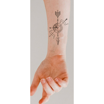 Black Temporary Tattoo Geometric Compass Arrow Waterproof Creative Fake Body Art Tattoo Sticker for Arms/Back/Sternum/Legs 2