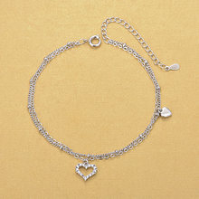 Silver Plated Anklets Fashion 925 Silver Double Chain Anklets Rhinestone Heart Anklets Women Girls Foot Barefoot Leg Jewelry(China)