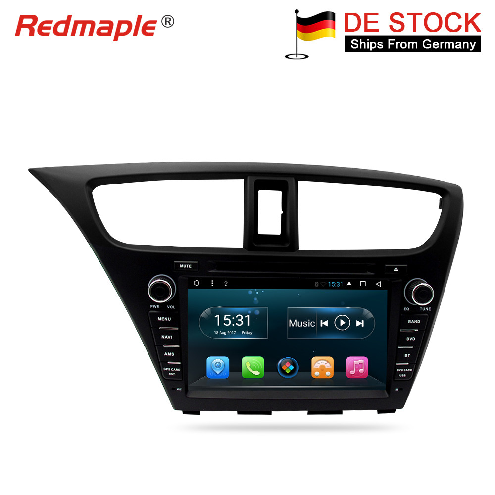 Android 9.0 Rádio Do Carro de Navegação DVD Player Multimídia Para Honda Civic Hatchback 2013 2014 2015 Auto GPS De Áudio Estéreo Bluetooth