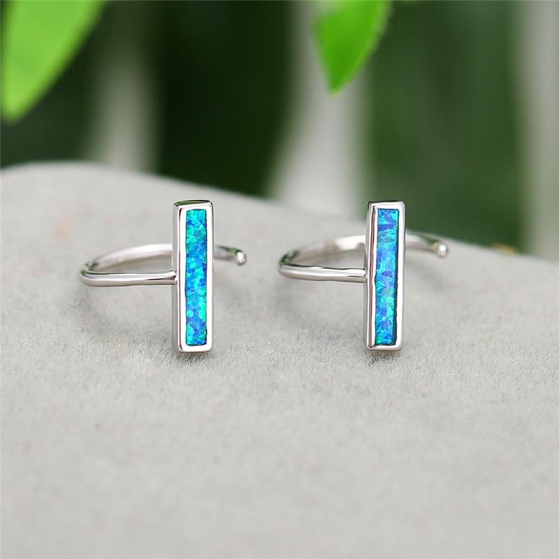 Geometric Opening Round Stud Earring Blue/White Fire Opal Hook Earrings For Women Silver Color Birthstone Minimalist Jewelry