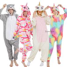 Nowe zwierząt jednorożec piżamy dorosłych zima piżamy Kigurumi Stitch Panda Pikachu piżamy kobiety Onesie Anime kostiumy kombinezon tanie tanio YSOYOK Poliester Unisex Koc podkładów Pasuje prawda na wymiar weź swój normalny rozmiar Flanelowe S M L XL Cartoon