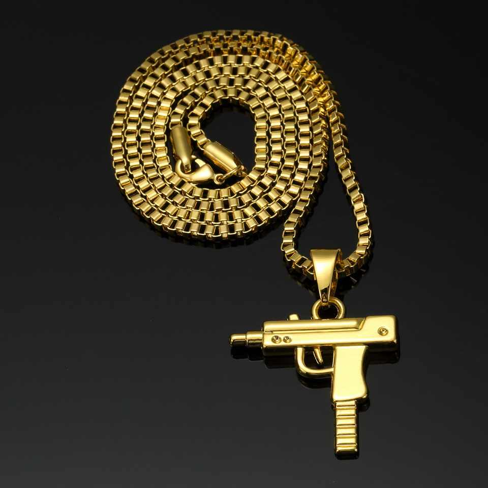 NYUK موضة الساخن مسدس بندقية عوزي شكل قلادة قلادة الرجال الهيب هوب مجوهرات الذهب اللون الجيش نمط 60 سنتيمتر سلسلة الرجال القوطية القلائد