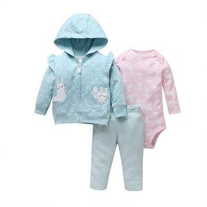 Image 2 - 女の赤ちゃん服ロングスリーブフードジャケット + 漫画ユニコーンロンパース + パンツ新生児衣装のファッション2020幼児服セット6 24m