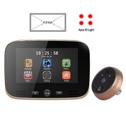 CDYCAM Neue 4,3 LCD Farbe Bildschirm Guckloch Kamera Viewer IR Nacht Vision Tür Motion Erkennung Foto Video Digitale Tür kamera