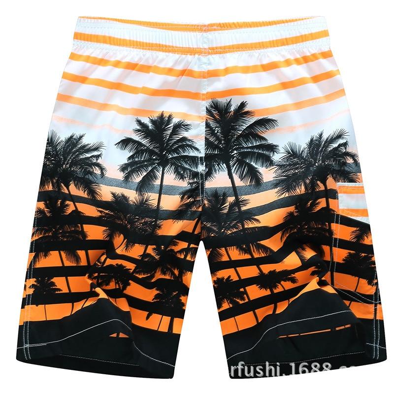 Beach Shorts Men Summer Palm Fashion Printed Beach Pants Quick-Dry Sports Shorts Men's 1525 #