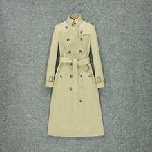 2019 fashion autumn trench coat women's knee style British style fashion tempera