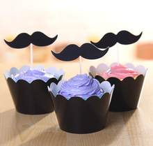 black mustache crown Cupcake cake Wrapper with topper cards Liner Baking Cup paper for wedding birthday tea party decoration Wh(China)