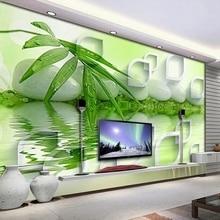 Фотообои 3D Самоклеящиеся водонепроницаемые, настенные современные стереоскопические украшения из бамбука, для гостиной, спальни