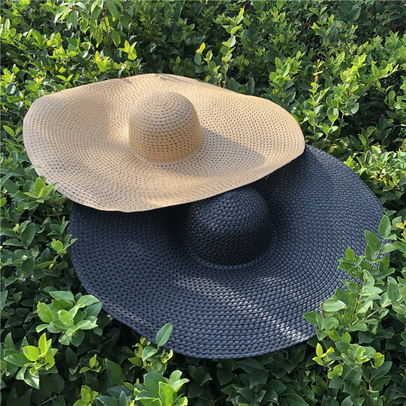 Fashion Ladies Oversized Hat Weave Breathable Summer Beach Hats For Women Easy To Travel Anti-UV Cap