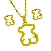 цена Stainless Steel Bear Pendant Necklace Earrings Sets Heart Clover Cross Bear Charm Necklace Jewelry Sets for Women онлайн в 2017 году