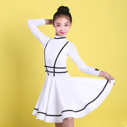 Kids Dresses For Girls Long Sleeve Latin Dance Dress Velvet Ballroom Competition Party Stage Performance Practice Costumes