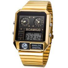 BOAMIGO العلامة التجارية الفاخرة الرجال الساعات الرياضية رجل موضة الساعات الرقمية LED مقاوم للماء الكوارتز ساعات المعصم relogio masculino