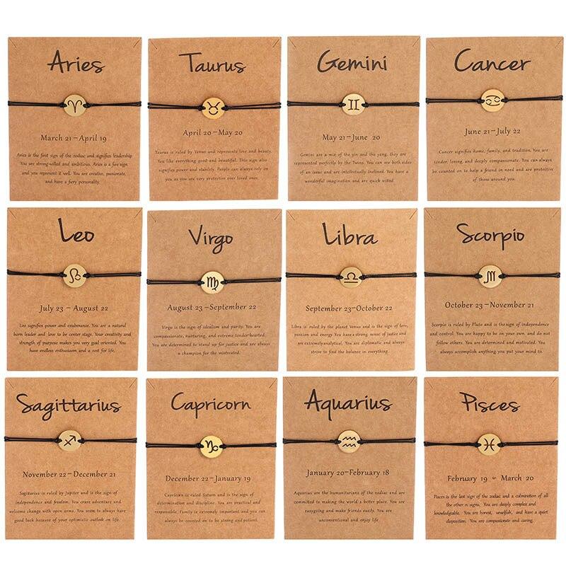 Braceletes femininos de aço inoxidável corda preta simples leo câncer virgo moda zodíaco estrela pulseira presente aniversário