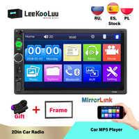 LeeKooLuu 2 Din Autoradio en tableau de bord 7 pouces Autoradio MP5 Bluetooth USB TF AUX FM téléphone Android Mirrorlink voiture lecteur multimédia