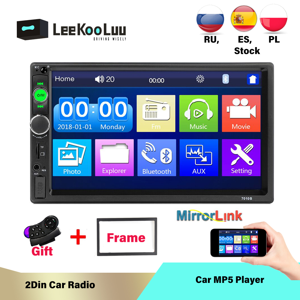 LeeKooLuu 2 Din Car Radio In Dash 7 Inch Autoradio MP5 Bluetooth USB TF AUX FM Android Phone Mirrorlink Car Multimedia Player image