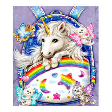 Unicorn and cat Moge Diamond Painting animal cartoon Round Full Drilling Modern simplicity bedroom rectangle DIY Toy sticking drill cross stitch 2019 nouveaute New Rainbow Backpack Butterfly Mosaic Embroidery(China)
