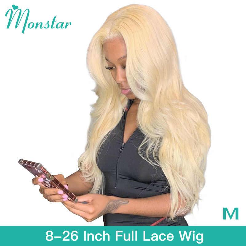 Monstar peruca cheia do cabelo humano do laço 613 mel loira colorido remy brasileiro onda do corpo 8-26 Polegada glueless perucas completas do laço para as mulheres