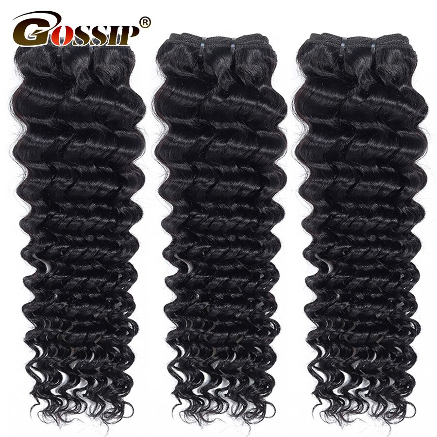 Deep Wave Bundles Brazilian Hair Weave Bundles Gossip 100% Human Hair Bundles 10-28 Inch Hair Extensions Non Remy Hair