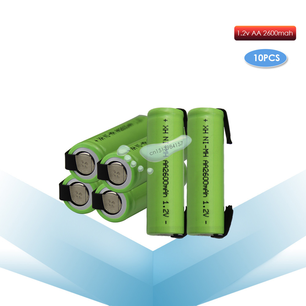 kpay 10pcs 1.2V AA 2600mah 2A ni-mh nimh rechargeable <font><b>battery</b></font> cell green shell with tabs pins Braun electric <font><b>shaver</b></font> toothbrush image