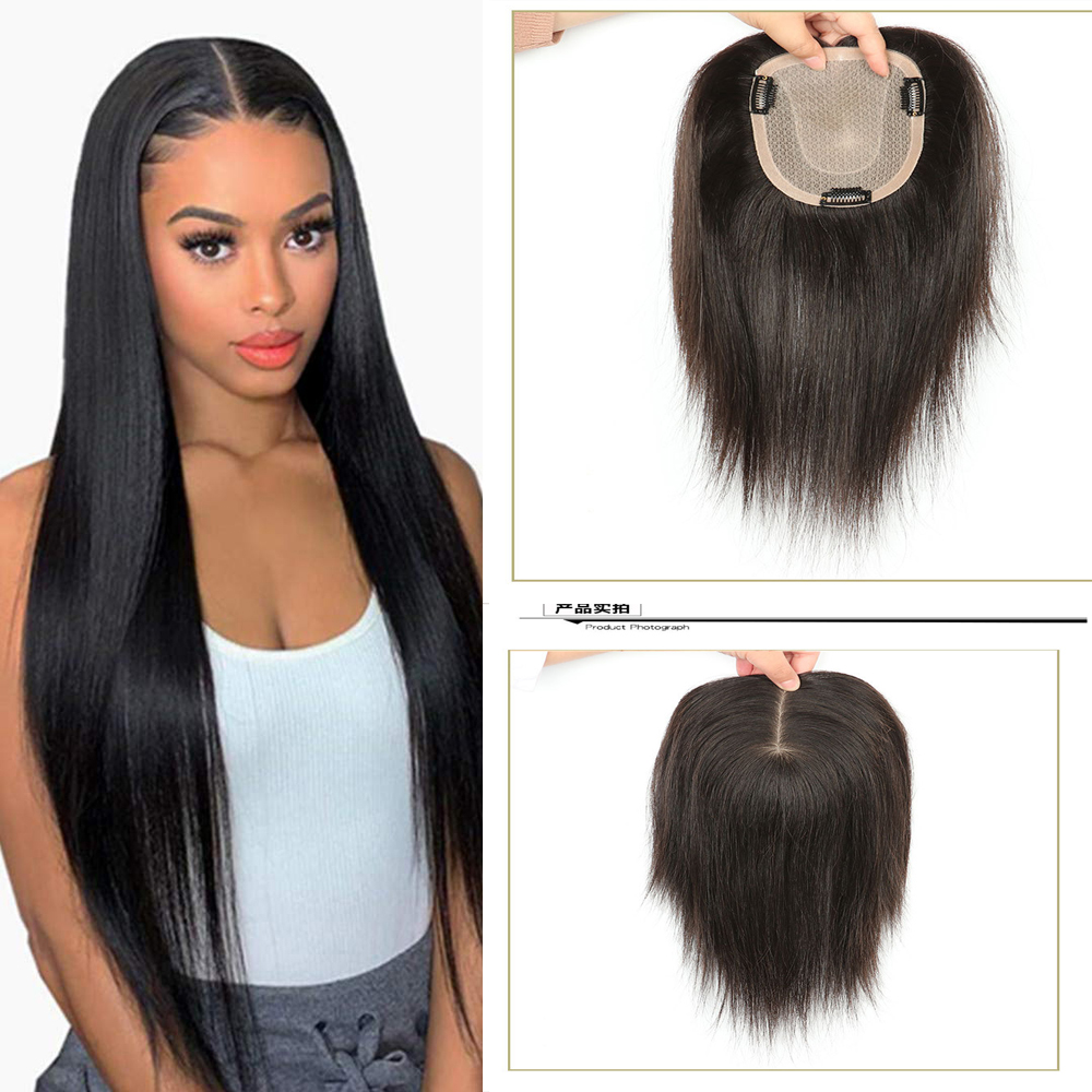 Silk Top Women Toupee Hair Piece Volume Extension Straight Lace PU Human Remy Hair Natural Black Color Double Knots
