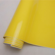 Glossy Yellow Vinyl Wrap Film Vehicle Wrapping Film Bubble Free Car Decal Bike Phone Console Skin