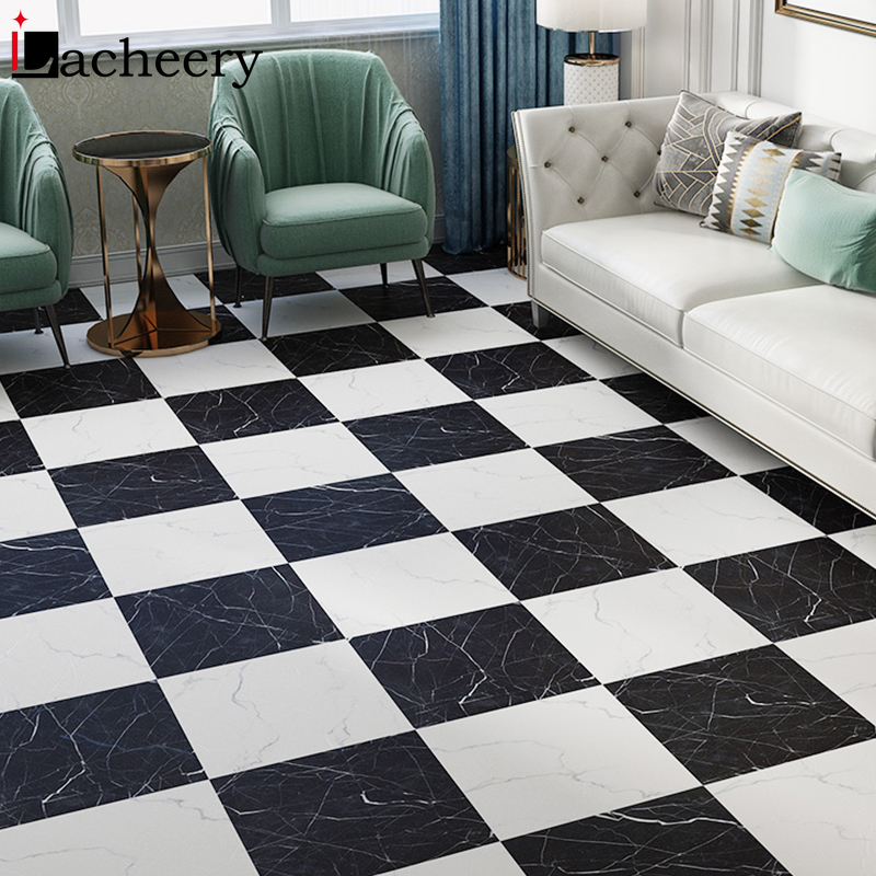 Modern Waterproof Bathroom Kitchen Marble Floor Tile Sticker Self Adhesive Vinyl Wallpaper Floor Renovation Wall Decorative Film