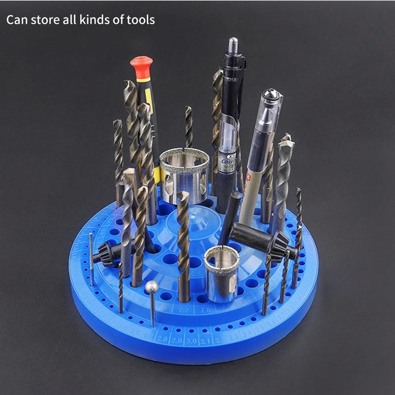 Drill Bit Storage Case 1-13mm Stand Round Shape Hard Plastic Organizer 100Pcs Hole Tool  Box Container
