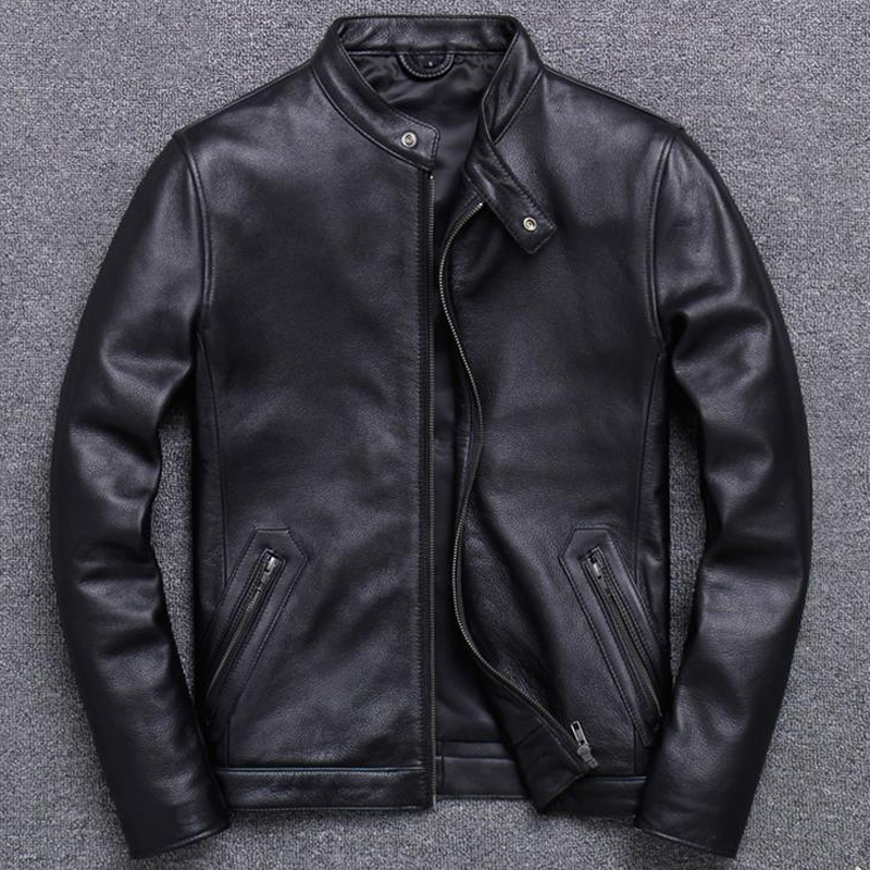 European Fashion Mens Cow Leather Jackets And Coats 5XL Plus Size Genuine Leather Jackets Cowskin Coats Winter Streetwear A848