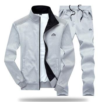 Men Tracksuit Set Polyester Sweatshirt 2020 Spring Sporting Fleece  Jacket + Pants Casual Men's Sports Suit Men's Sportswear 4XL 4