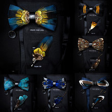 GUSLESON Prachtige handgemaakte Veer Strikje Broche Pin Set Met Gift Box Pre-gebonden Mannen Tie Bowtie Voor wedding Party(China)