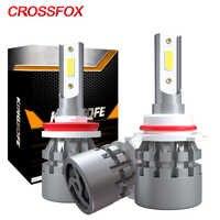 CROSSFOX 2Pcs HA CONDOTTO LA Lampada H4 9005 HB3 9006 HB4 H7 H8 H9 H11 HA CONDOTTO LA Lampadina H1 Luci Auto Lampadine lampada Auto Fari 6000K 8000LM 12V
