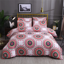 National Adults Bed Linens Set Bedclothes EU Single Home Decorative Bohemia Floral Bed Bedding Set Red Duvet Cover Set