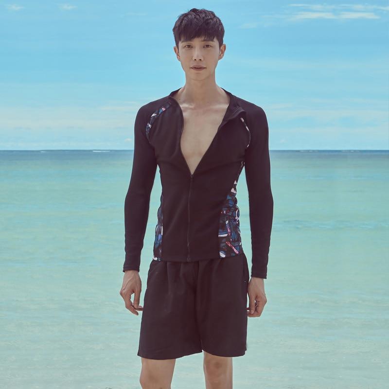 2019 South Korea Men Long Sleeve Beach Bathing Suit Surfing Running Man Swimwear Beach Clothing Sun-resistant Quick-Dry Olive Fl