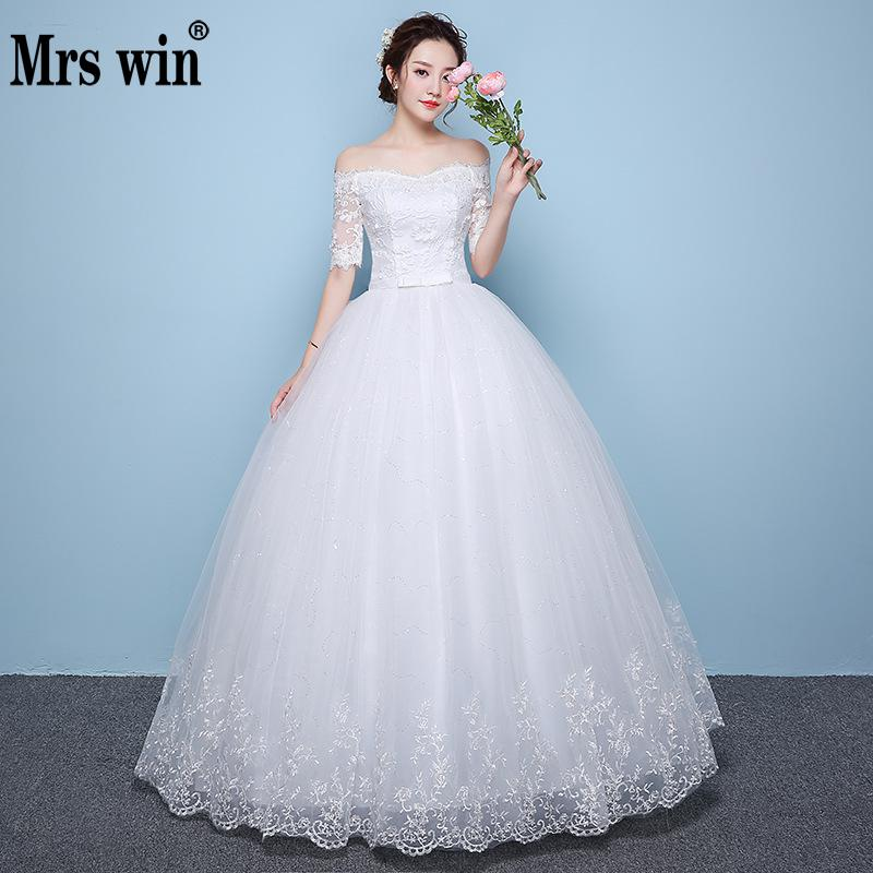 Mrs Win Wedding Dress The Eegant Half Sleeve Boat Neck Ball Gown Off The Shoulder Princess Luxury Wedding Dress
