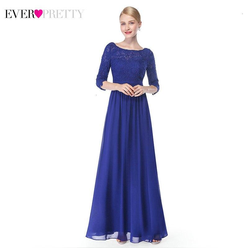 Elegant Evening Dresses Long Ever Pretty EP08412SB A-Line O-Neck 3/4 Sleeve Chiffon Formal Evening Gowns Robe Femme Soiree