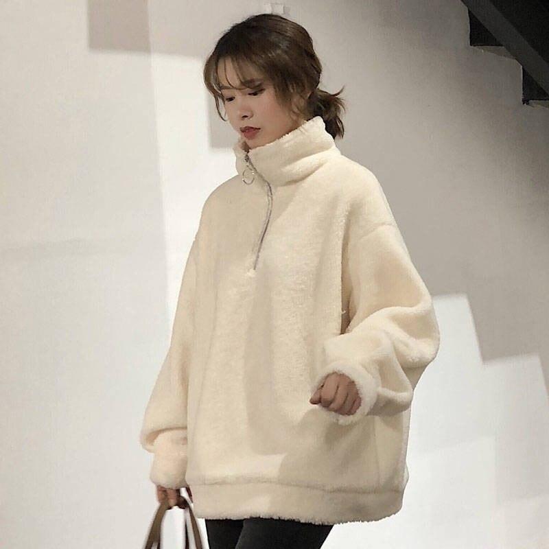 2019 Autumn Winter Warm Hoodies Sweatshirt Women Hoodies Casual Velvet Pocket Long Sleeve Pullover Top Plus Size Coats Hoodie
