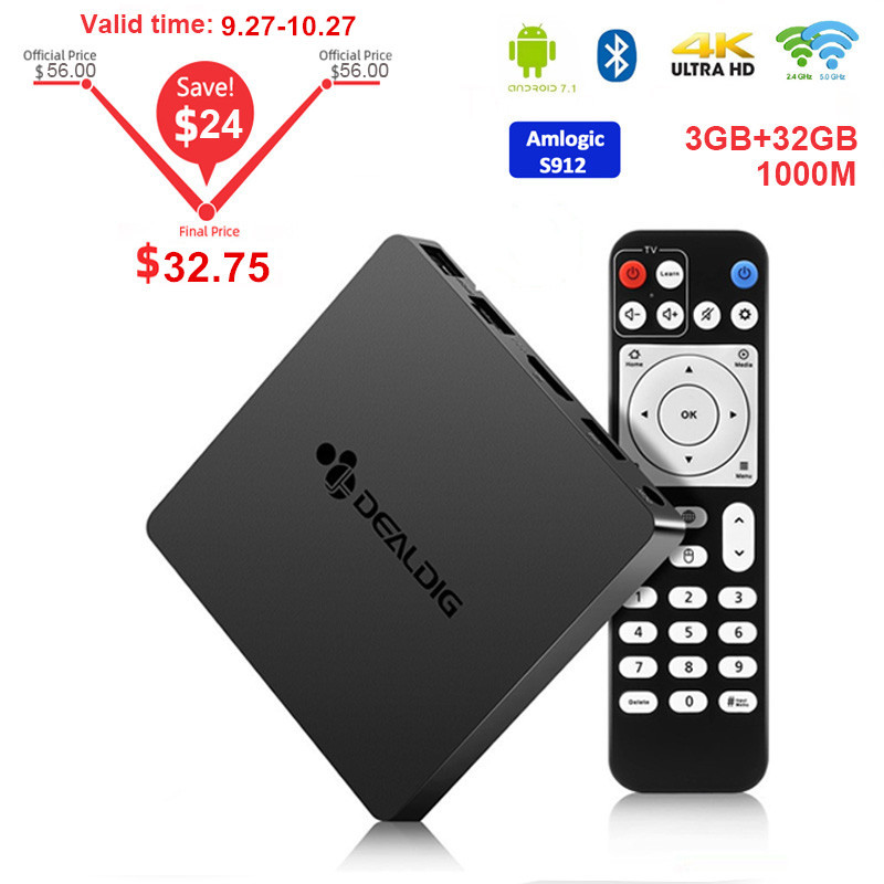 DEALDIG BOXD6 <font><b>TV</b></font> <font><b>Box</b></font> <font><b>Android</b></font> 7.1 3GB DDR4 32GB Amlogic S912 octa core 2,4G/5G Wifi <font><b>set</b></font> <font><b>Top</b></font> <font><b>Box</b></font> 1000M 4K BT4.0 Media Player image